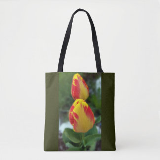 yellow red tulips tote bag