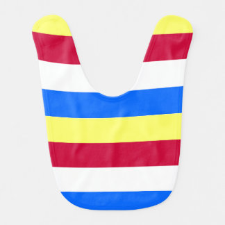 Yellow, Red, White and  Blue Stripes Bib