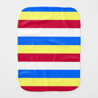 Yellow, Red, White and  Blue Stripes Burp Cloth