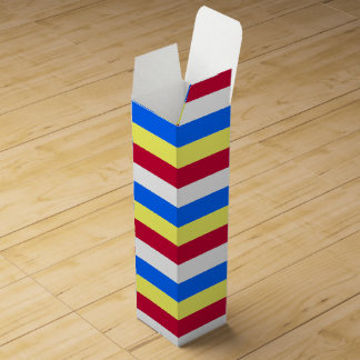 Yellow, Red, White and  Blue Stripes Wine Box