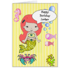 Yellow Redhead Mermaid Happy Birthday Card