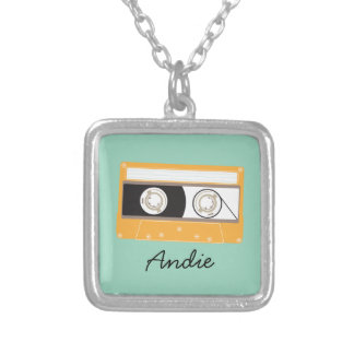 Yellow Retro 80s Cassette Indie Mixtape Silver Plated Necklace