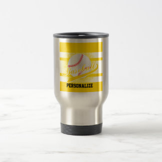 Yellow Retro Baseball Style Travel Mug