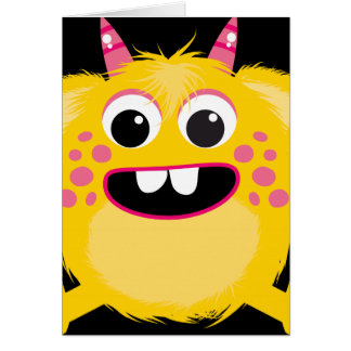 Yellow Retro Cute Monster Cards