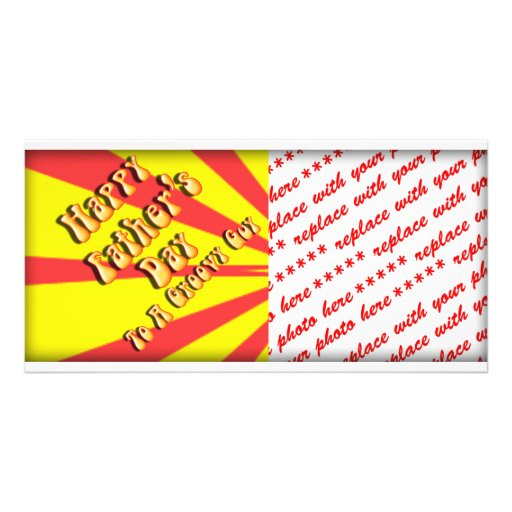 Yellow Retro Father's Day for a Groovy Guy Photo Cards