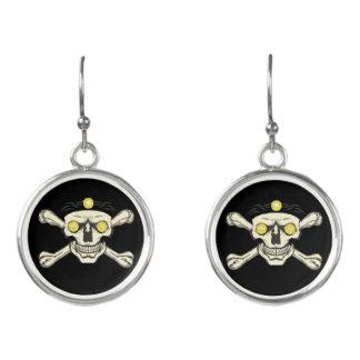 Yellow Rhinestone Eyes Skull Earrings - Jewelry