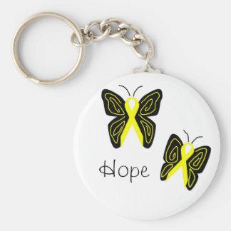 Yellow ribbon butterflies, Hope key chain