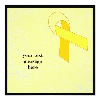yellow ribbon event 13 cm x 13 cm square invitation card