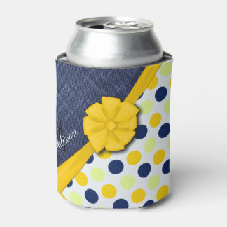 Yellow Ribbon, Jeans Fabric, Dots Pattern Monogram Can Cooler