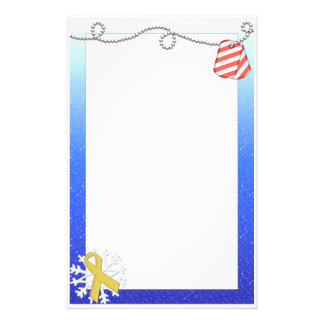 Yellow Ribbon & Striped Dog Tags Stationery