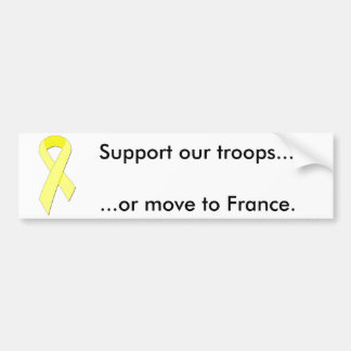 yellow-ribbon, Support our troops..., ...or mov... Bumper Sticker