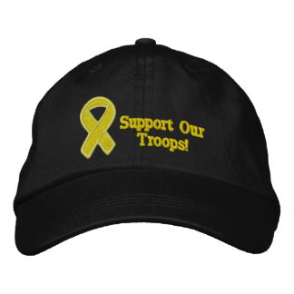Yellow Ribbon Supports Our Troops Embroidered Hat