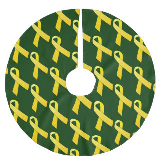 Yellow Ribbons Tiled Pattern Brushed Polyester Tree Skirt