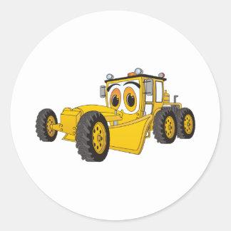 Yellow Road Grader Cartoon Round Sticker