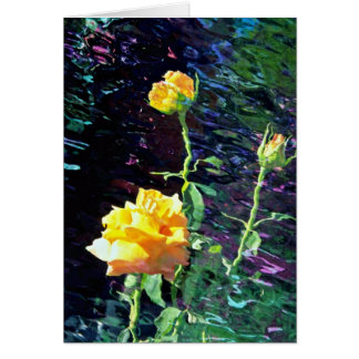 Yellow rose and buds, incandescent water glass dup greeting card
