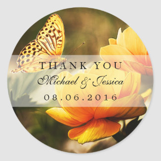 Yellow Rose and Butterfly Wedding Favor Stickers