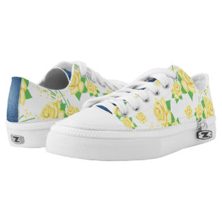 Yellow Rose and Denim Pattern Printed Shoes