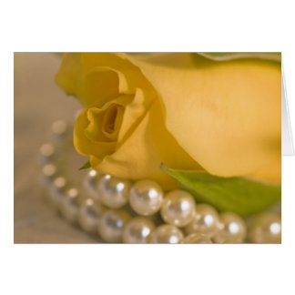 Yellow Rose and Pearls Card