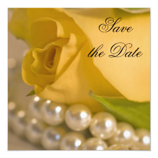 Yellow Rose and Pearls Save the Date 5.25x5.25 Square Paper Invitation Card