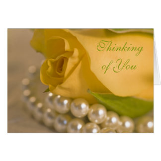 Yellow Rose and Pearls Thinking of You Card