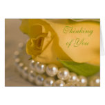 Yellow Rose and Pearls Thinking of You Greeting Card