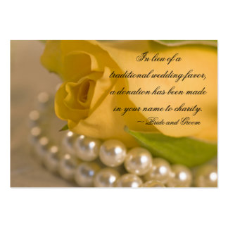 Yellow Rose and Pearls Wedding Charity Favor Card Business Cards