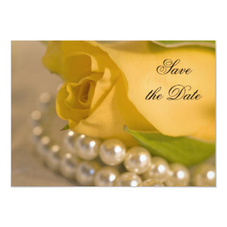 """Yellow Rose and Pearls Wedding Save the Date 5"""" X 7"""" Invitation Card"""