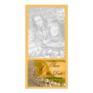 Yellow Rose and Pearls Wedding Save the Date Photo Greeting Card