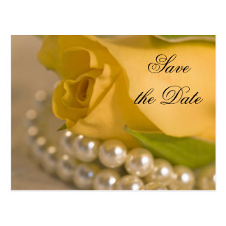 Yellow Rose and White Pearls Save the Date Postcard