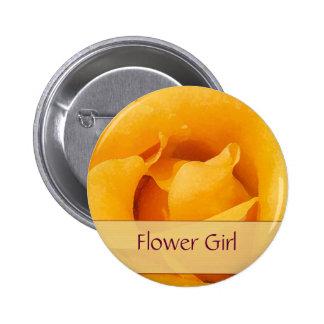 Yellow Rose Bride Flower Girl Pinback Buttons