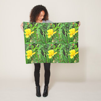 Yellow Rose Bud in Green Fleece Pillow