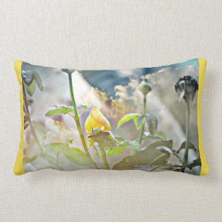 Yellow Rose Bud Lumbar Pillow