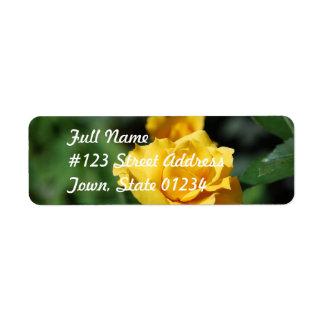 Yellow Rose Bud Return Address Mailing Label Return Address Label