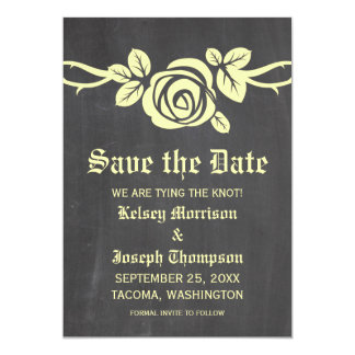 "Yellow Rose Chalkboard Save the Date Invite 5"" X 7"" Invitation Card"