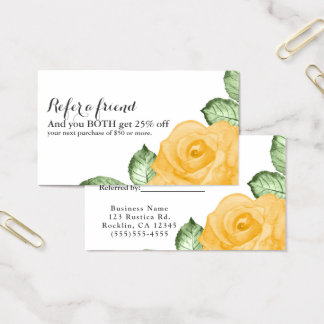 Yellow Rose Chic Elegant Floral Refer a Friend Business Card