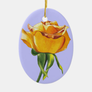 Yellow Rose Christmas Ornament