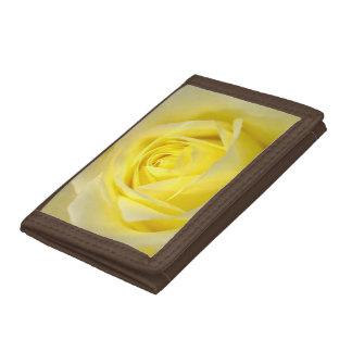Yellow Rose Closeup Tri-fold Wallet