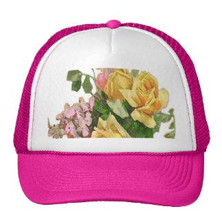 Yellow Rose Design Mesh Hats