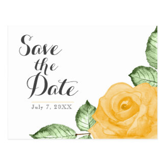 Yellow Rose Elegant Floral Wedding Save the Date Postcard