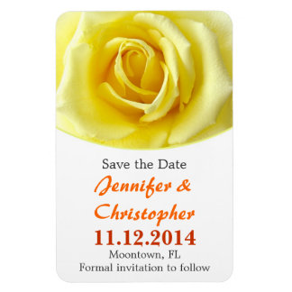 yellow rose elegant save the date magnets