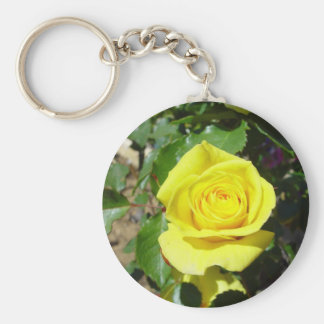 Yellow Rose Floral 4 Basic Round Button Key Ring