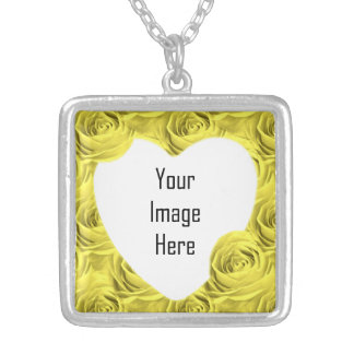 Yellow Rose Floral Photography Abstract Pattern Silver Plated Necklace