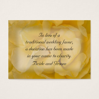 Yellow Rose Floral Wedding Charity Favor Card