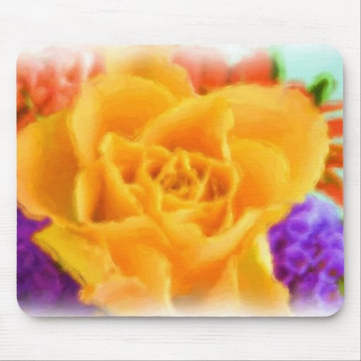Yellow Rose Flower Bouquest Painting Design Mousepads