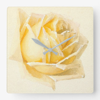 Yellow Rose Flower Painting Wall Clock