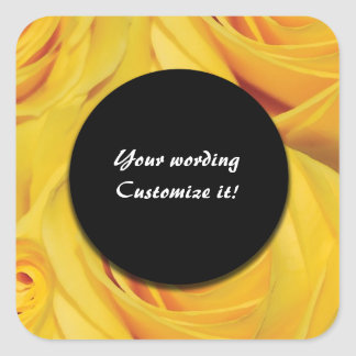 Yellow rose flower square sticker
