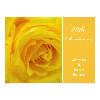 Yellow rose flower wedding anniversary invitation personalized announcement