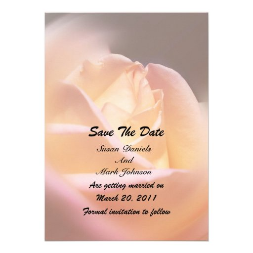 Yellow Rose Flower Wedding Save The Date Custom Announcements