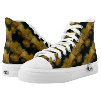 Yellow Rose Flowers Nature Pattern High Tops