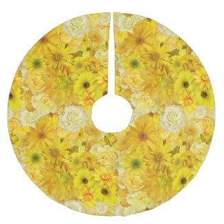 Yellow Rose Friendship Bouquet Gerbera Daisy Brushed Polyester Tree Skirt